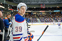 PENTICTON, CANADA - SEPTEMBER 16: Jesse Puljujarvi #39 of Edmonton Oilers stands on the bench against the Vancouver Canucks on September 16, 2016 at the South Okanagan Event Centre in Penticton, British Columbia, Canada.  (Photo by Marissa Baecker/Shoot the Breeze)  *** Local Caption ***  Jesse Puljujarvi;