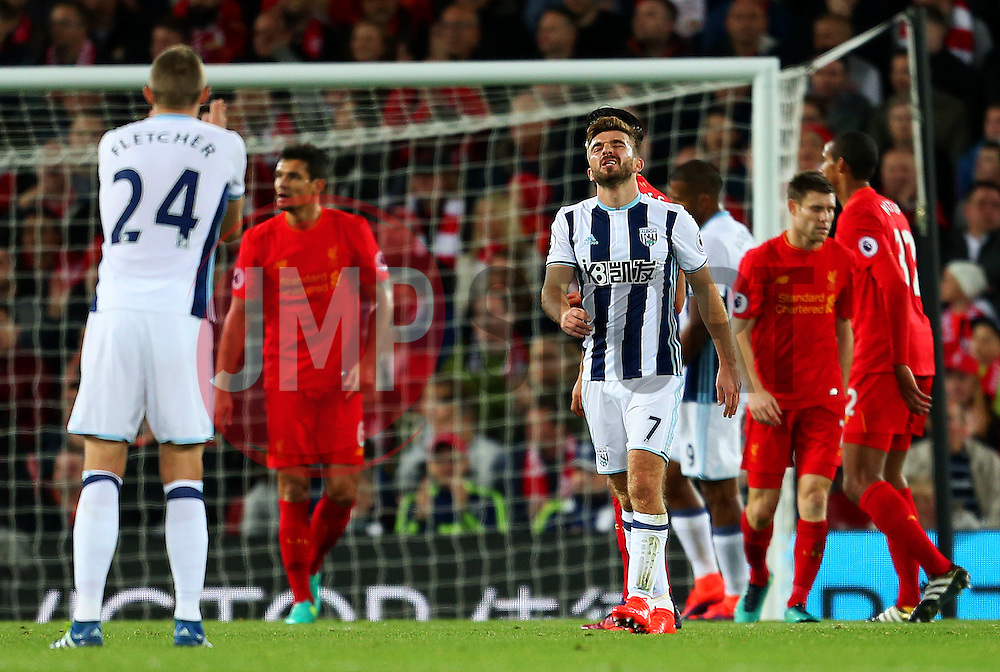 James Morrison of West Bromwich Albion looks dejected after missing a chance - Mandatory by-line: Matt McNulty/JMP - 22/10/2016 - FOOTBALL - Anfield - Liverpool, England - Liverpool v West Bromwich Albion - Premier League