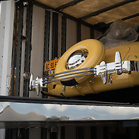 The Petersen Museum's vehicles are about to be offloaded.