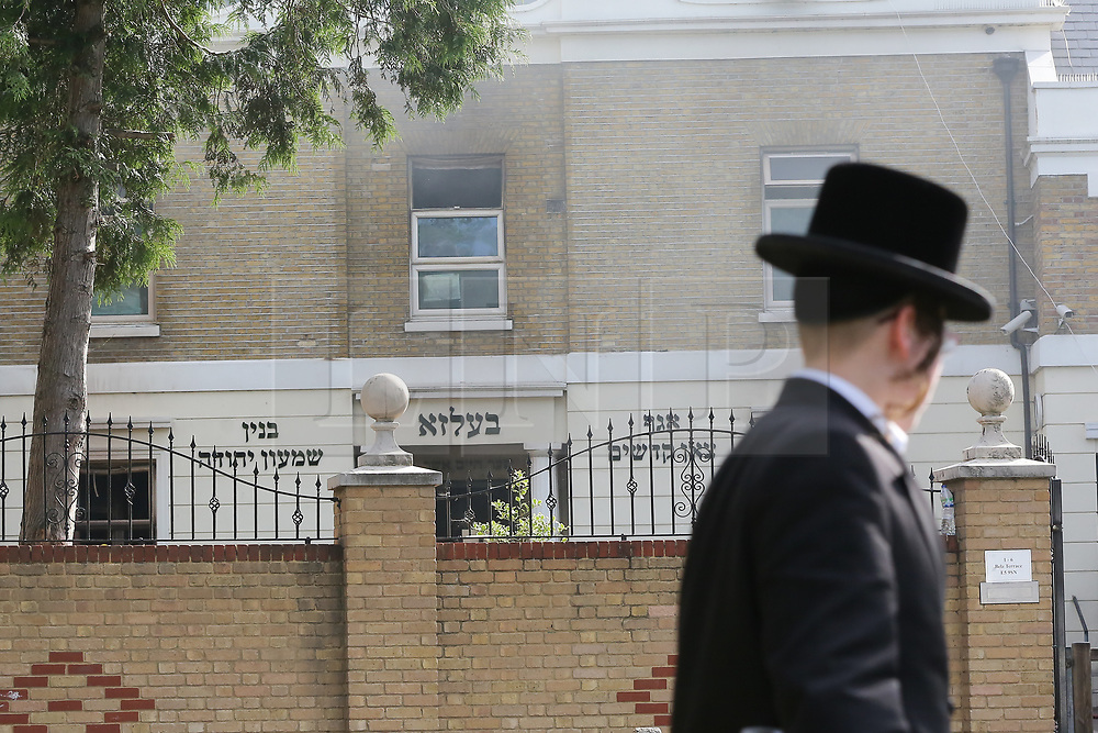 © Licensed to London News Pictures. 05/07/2017. London, UK. Fire damage to a Jewish faith school in Belz Terrace, Hackney, after it went on fire overnight. According to reports,100 firefighters were deployed to tackle a blaze after the alarm was raised shortly before midnight on Tuesday, 4 July 2017.  Photo credit: Dinendra Haria/LNP