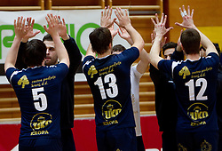 Players of Kropa celebrate after the volleyball match between ACH Volley and UKO Kropa at Finals of Slovenian Cup 2010, on December 21, 2010 in Dvorana OS, Nova Gorica, Slovenia. ACH Volley defeated Kropa 3-0 and become Slovenian Cup Champion. (Photo By Vid Ponikvar / Sportida.com)