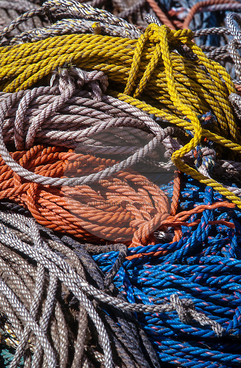 Coiled ropes on a dock in Tenants Harbor, Maine.
