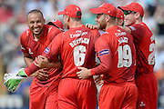 George Edwards and Lancashire celebrate  during the NatWest T20 Blast Semi Final match between Hampshire County Cricket Club and Lancashire County Cricket Club at Edgbaston, Birmingham, United Kingdom on 29 August 2015. Photo by David Vokes.