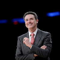 Head coach Rick Pitino of the Louisville Cardinals during a semifinal game against the Notre Dame Fighting Irish on day four of the BIG EAST Men's Basketball Championship at Madison Square Garden in New York, NY on Friday March 15, 2013.