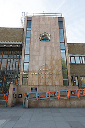 © Licensed to London News Pictures. 24/04/2017. LONDON, UK.  General view of Thames Magistrates Court in London. Arthur Collins, 24, the boyfriend of reality TV star, Ferne McCann and Andre Phoenix, 21 appeared at Thames Magistrates Court today, charged with offences in connection with an acid attack at Mangle nightclub in Dalston, Hackney on 17th April which left a man and a woman each blind in one eye. Both were remanded in custody. Photo credit: Vickie Flores/LNP