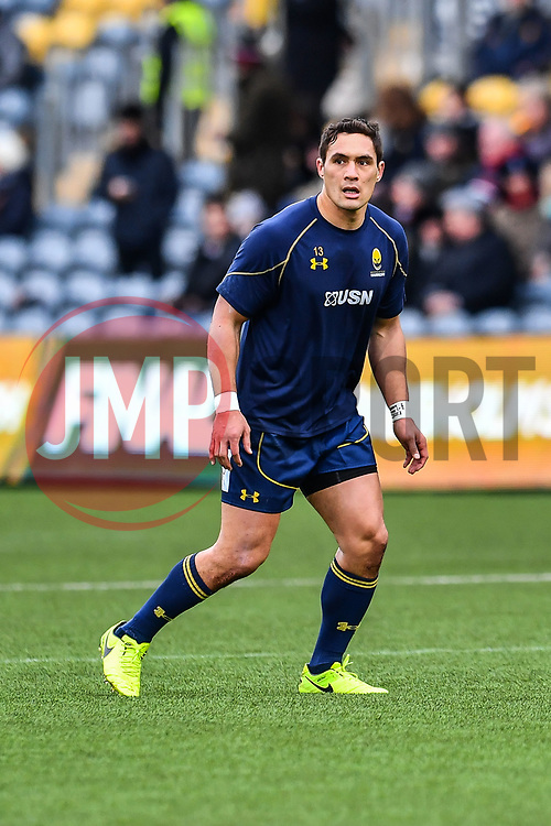 Jackson Willison of Worcester Warriors during the pre match warm up - Mandatory by-line: Craig Thomas/JMP - 27/01/2018 - RUGBY - Sixways Stadium - Worcester, England - Worcester Warriors v Exeter Chiefs - Anglo Welsh Cup