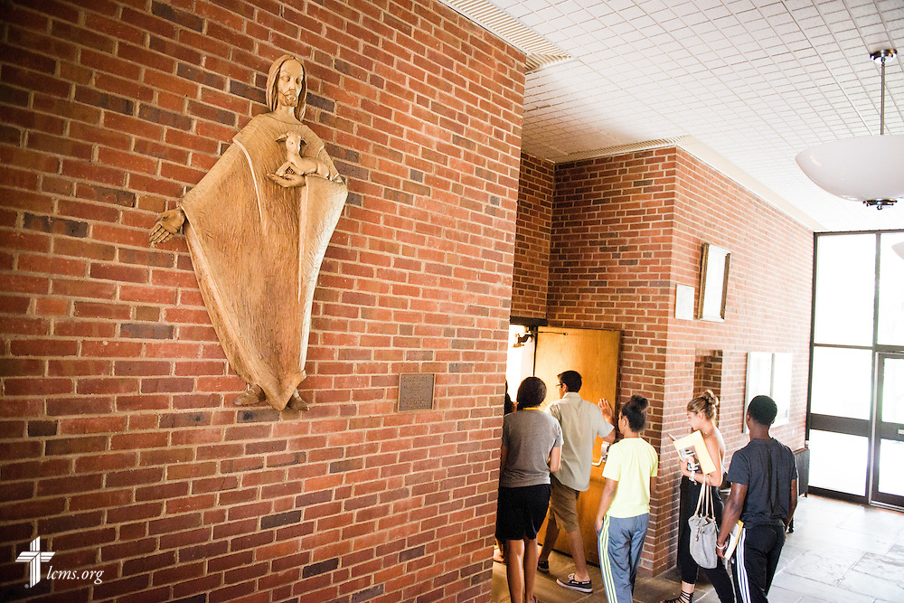 Students walk through the doors of Brunn-Maier Science Hall at Concordia College New York on Saturday, July 19, 2014, in Bronxville, NY. LCMS Communications/Erik M. Lunsford