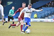 Bury Midfielder, Danny Mayor unleashes a shot during the Sky Bet League 1 match between Bury and Bradford City at the JD Stadium, Bury, England on 5 March 2016. Photo by Mark Pollitt.