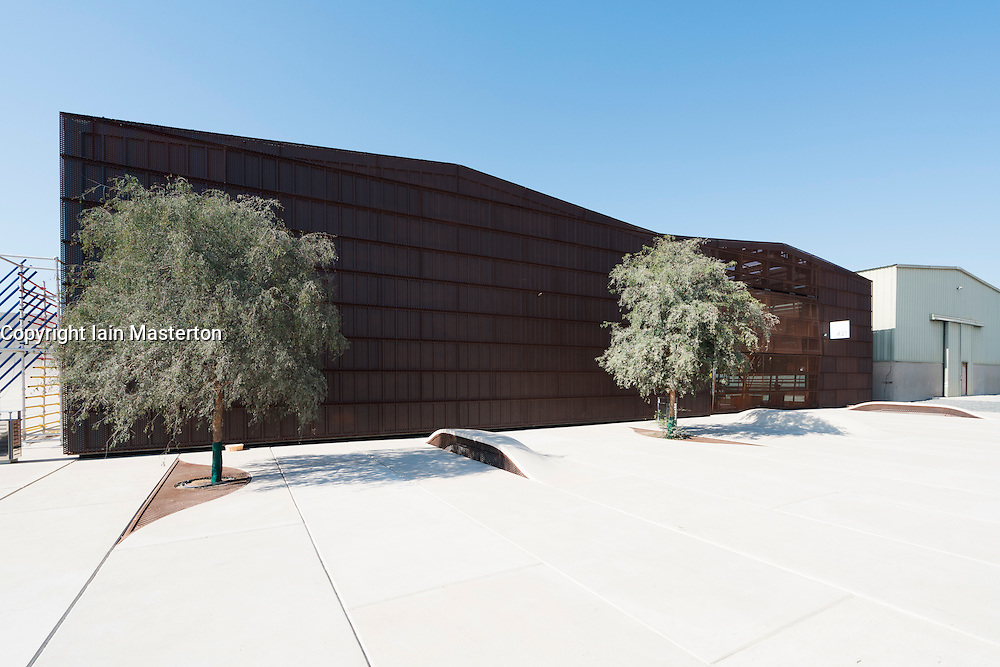 Exterior view of new Warehouse421 art gallery in Mina Zayed district of Abu Dhabi United Arab Emirates