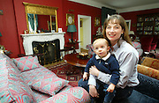 2/4/2002 .Sunday Times Property.Heidi Day and her son Lawson pictured in the living room at Mount Loftus in Kilkenny..Picture Dylan Vaughan