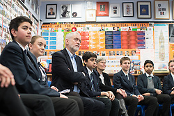© Licensed to London News Pictures . 22/03/2018. Manchester, UK. JEREMY CORBYN visits a class at Stretford High School with local MP KATE GREEN (4th from right) , in Trafford , after launching of the Labour Party's local election campaign . Photo credit: Joel Goodman/LNP
