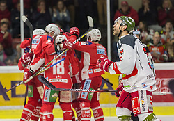 17.03.2019, Stadthalle, Klagenfurt, AUT, EBEL, EC KAC vs HCB Suedtirol Alperia, Viertelfinale, 3. Spiel, im Bild Thomas KOCH (EC KAC, #18), Andrew KOZEK (EC KAC, #10), Matt NEAL (EC KAC, #50), Paul GEIGER (HCB Suedtirol Alperia, #3) // during the Erste Bank Icehockey 3rd quarterfinal match between EC KAC and HCB Suedtirol Alperia at the Stadthalle in Klagenfurt, Austria on 2019/03/17. EXPA Pictures © 2019, PhotoCredit: EXPA/ Gert Steinthaler