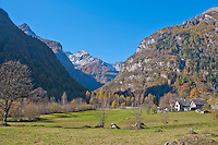 Valley floor and mountain panorama in the Valle Verzasca in Ticino, Southern Switzerland.