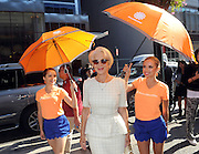 IMAGE DISTRIBUTED FOR ACCUWEATHER -  Actress Helen Mirren is shaded from the hot summer sun by the AccuWeather MinuteCast street team at New York Fashion Week, on Tuesday, Sept. 15, 2015. The AccuWeather MinuteCast Street Team is at it again helping Fashion Week attendees stay stylish and one-step ahead of any possible precipitation. (Photo by Diane Bondareff/Invision for AccuWeather/AP Images)