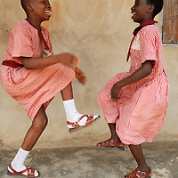 Kwara state Nigeria Ilorin November 2007<br /> Uwaia State school for the Handicapped<br /> Martha and Elizabeth playing a clapping game during their break.