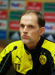 LIVERPOOL, ENGLAND - Wednesday, April 13, 2016: Borussia Dortmund's head coach Thomas Tuchel during a press conference at Anfield ahead of the UEFA Europa League Quarter-Final 2nd Leg match against Liverpool. (Pic by David Rawcliffe/Propaganda)