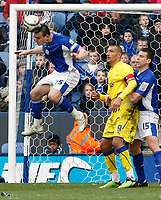 Photo: Steve Bond/Richard Lane Photography. Leicester City v Cardiff City. Coca Cola Championship. 13/03/2010. Jack Hobbs clears off the line in front of Jay Bothroyd (C) and Bruno Berner (R)