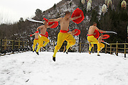 ZHENGZHOU, CHINA -<br /> <br /> Shirtless Monks Practise Kung Fu On Snowy Mountain<br /> <br /> Shirtless martial monks practise Shaolin Kung Fu on the snowy Mount Song in Dengfeng on February 22, 2017 in Zhengzhou, Henan Province of China. <br /> &copy;Exclusivepix Media