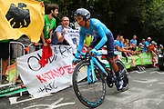 Nairo Quintana (COL - Movistar) during the 105th Edition of Tour de France 2018, cycling race stage 20, time trial, Saint Pee sur Nivelle - Espelette (31 km) on July 28, 2018 in Espelette, France - Photo Kei Tsuji / BettiniPhoto / ProSportsImages / DPPI