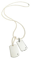 silver chrome dogtag necklace