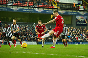 Accrington Stanley Forward Billy Kee (29) takes penalty kick and scores a goal to take the lead 0-1 during the EFL Sky Bet League 2 match between Grimsby Town FC and Accrington Stanley at Blundell Park, Grimsby, United Kingdom on 30 December 2017. Photo by Craig Zadoroznyj.