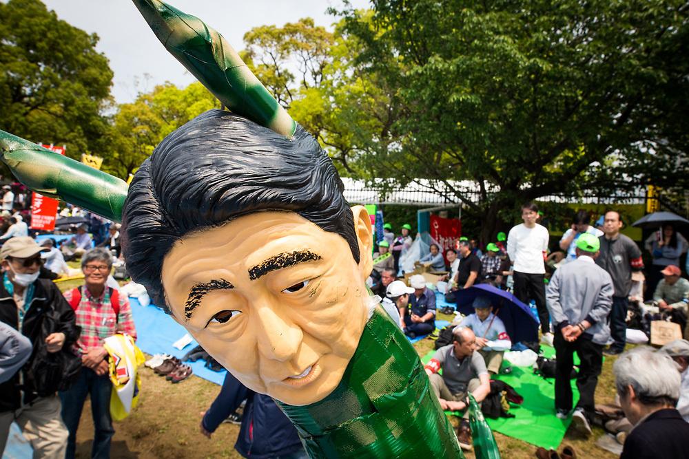 TOKYO, JAPAN - MAY 1 : Japanese PM Shinzo Abe's effigy during the May Day Rally in Tokyo, Japan on May 1, 2017. (Photo by Richard Atrero de Guzman/NUR Photo)