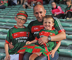 Mayo supporters from Balla, Conor, Adam and Tom Brett at the Gaelic grounds.<br />