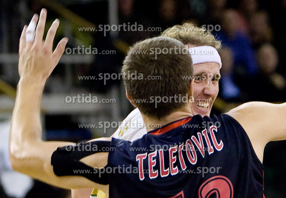 Mirza Teletovic  of Caja Laboral Baskonia  vs Matt Vincent Walsh (44) of Olimpija at Group C of Euroleague basketball match between KK Union Olimpija, Slovenia and Caja Laboral, Spain, on November 5, 2009, in Arena Tivoli, Ljubljana, Slovenia.  (Photo by Vid Ponikvar / Sportida)