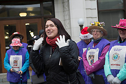 December 9, 2016 - Salem, Oregon, U.S - Plaintiff KELSEY JULIANA, in red scarf,  speaks outside  the Oregon Court of Appeals in Salem. Juliana filed suit against Oregon Gov. Kate Brown and the state of Oregon for violating her constitutional and public trust rights. The case is seeking a court order to compel the state to take science-based action to address the climate crisis and prevent catastrophic and irreversible impacts. Juliana is also a plaintiff in the landmark federal lawsuit against the federal government over climate change. (Credit Image: © Robin Loznak via ZUMA Wire)