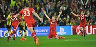 UEFA Champions League final football match between Borussia Dortmund and Bayern Munich at Wembley Stadium in London on May 25, 2013, Bayern Munich won the game 2-1 <br />Bayern Munich's midfielder Bastian Schweinsteiger celebrates at the final whistle after their victory <br />(Photo by: Piotr Hawalej)
