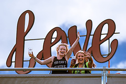 © Licensed to London News Pictures . 07/06/2015 . Manchester , UK . Two women dancing at The Parklife 2015 music festival in Heaton Park , Manchester . Photo credit : Joel Goodman/LNP