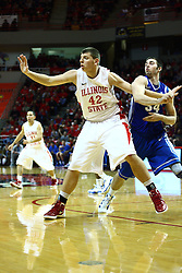 13 January 2012:  Jordan Threloff and Ethan Wragge wrestle for position during an NCAA Missouri Valley Conference mens basketball game where the Creighton Bluejays topped the Illinois State Redbirds 87-78 in Redbird Arena, Normal IL