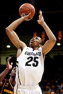 February 16th, 2013 Boulder, CO - Colorado Buffaloes sophomore guard Spencer Dinwiddie (25) attempts a shot in overtime of the NCAA basketball game between the Arizona State Sun Devils and the University of Colorado Buffaloes at the Coors Events Center in Boulder CO