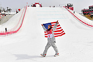 Feb 24, 2018; Pyeongchang, South Korea; Kyle Mack (USA) celebrates winning silver in the men's snowboard big air finals during the Pyeongchang 2018 Olympic Winter Games at Phoenix Snow Park. Mandatory Credit: Peter Casey-USA TODAY Sports
