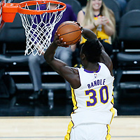 08 October 2017: Los Angeles Lakers forward Julius Randle (30) goes for the dunk during the LA Lakers 75-69 victory over the Sacramento Kings, at the T-Mobile Arena, Las Vegas, Nevada, USA.