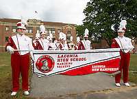 The Laconia High School marching band is ready to lead the LHS Homecoming parade on Friday evening.  (Karen Bobotas/for the Laconia Daily Sun)