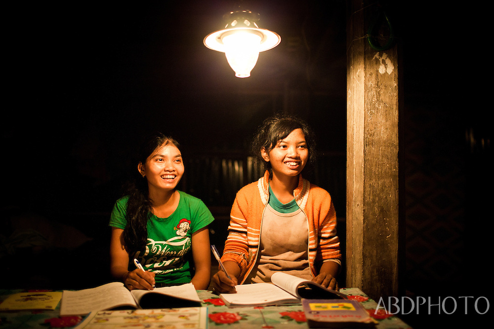 Biogas lights in Svay Rieng Cambodia
