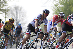 The peloton including Peter Sagan (SVK) Bora-Hansgrohe and Mathieu Van Der Poel (NED) Corendon-Circus in Brakel during the 2019 Ronde Van Vlaanderen 270km from Antwerp to Oudenaarde, Belgium. 7th April 2019.<br /> Picture: Eoin Clarke | Cyclefile<br /> <br /> All photos usage must carry mandatory copyright credit (© Cyclefile | Eoin Clarke)