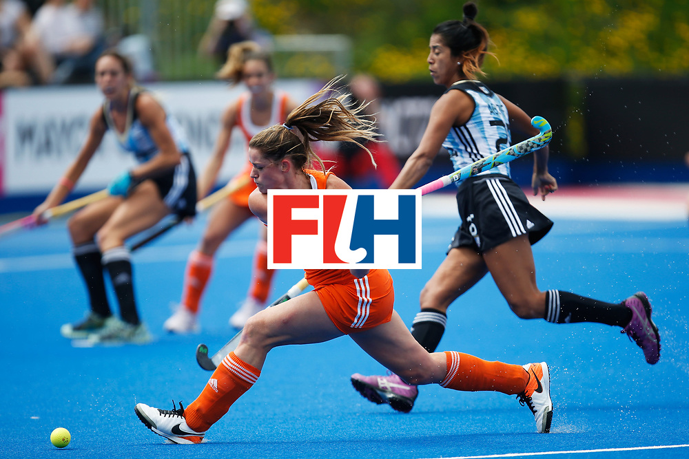 LONDON, ENGLAND - JUNE 25:  Lidewij Welten of the Netherlands fires a shot toward goal during the FIH Women's Hockey Champions Trophy 2016 match between Argentina and the Netherlands at Queen Elizabeth Olympic Park on June 25, 2016 in London, England.  (Photo by Joel Ford/Getty Images)