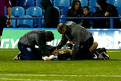 Joe Wildsmith of Sheffield Wednesday receives treatment for an injury - Mandatory by-line: Robbie Stephenson/JMP - 08/08/2017 - FOOTBALL - Hillsborough - Sheffield, England - Sheffield Wednesday v Chesterfield - Carabao Cup