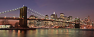 Brooklyn Bridge Panorama, from Brooklyn Bridge Park, Main Street Section, Manhattan, Brooklyn, New York City, New York, USA