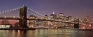 Brooklyn Bridge Panorama, from Brooklyn Bridge Park, Main Street Section, Manhattan, Brooklyn, New York City, New York, USA