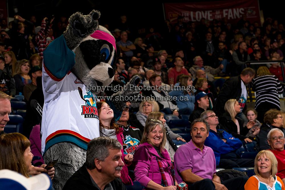 KELOWNA, CANADA - NOVEMBER 3: Kelowna Rockets' mascot Rocky Raccoon hams it up with the fans against the Brandon Wheat Kings  on November 3, 2018 at Prospera Place in Kelowna, British Columbia, Canada.  (Photo by Marissa Baecker/Shoot the Breeze)