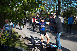 Emilie Moberg (NOR) of Hitec Products Cycling Team strikes a funny pose before La Flèche Wallonne Femmes - a 120 km road race, starting and finishing in Huy on April 19, 2017, in Liège, Belgium.