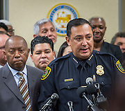 Houston Chief of Police Art Acevedo comments during a news conference introducing the Houston Office of New Americans and to discuss immigrant issues, December 12, 2016, at the Baker Ripley Neighborhood Center.