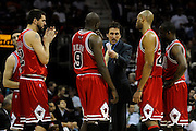 Apr 27, 2010; Cleveland, OH, USA; Chicago Bulls coach Vinny Del Negro instructs his players during the fourth period in game five in the first round of the 2010 NBA playoffs at Quicken Loans Arena.  Mandatory Credit: Jason Miller-US PRESSWIRE