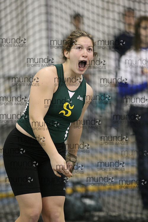 Windsor, Ontario ---12/03/09--- Audrey Morin Lemay of  Universite de Sherbrooke competes in the Women's Weight Throw at the CIS track and field championships in Windsor, Ontario, March 12, 2009..Sean Burges Mundo Sport Images