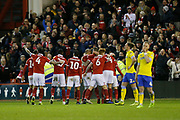 Goal celebration by Forest players following the fourth goal scored by Nottingham Forest midfielder Ben Osborn (11)  during the EFL Sky Bet Championship match between Nottingham Forest and Leeds United at the City Ground, Nottingham, England on 1 January 2019.