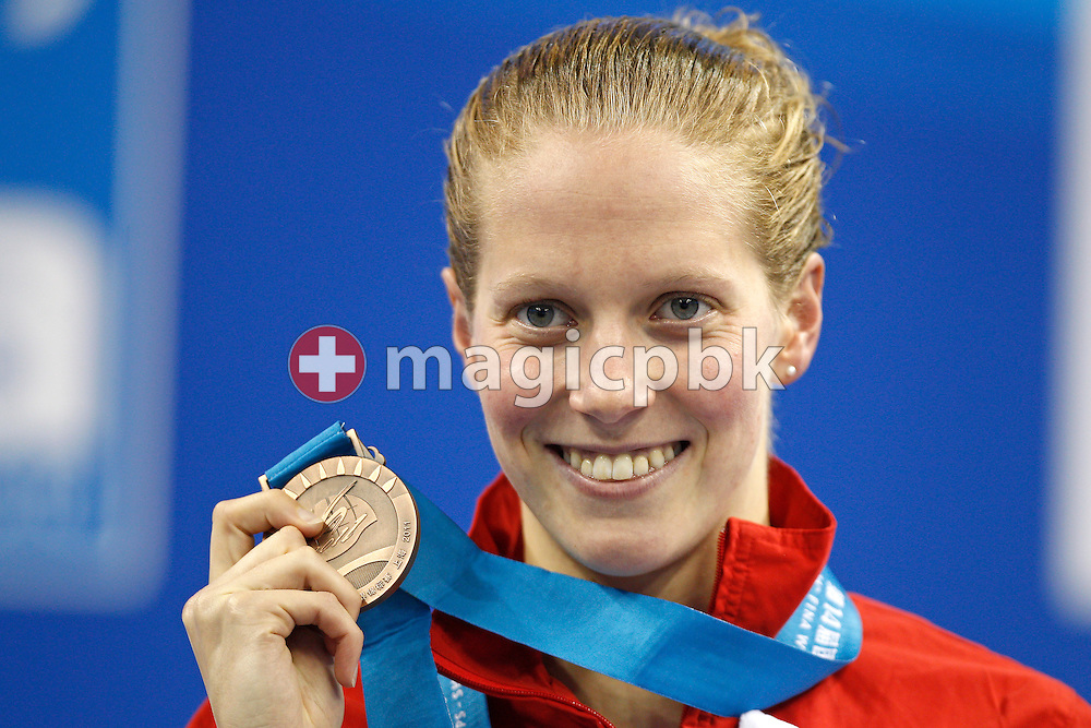 3rd placed Martha McCABE of Canada poses with her bronze medal after competing in the women's 200m Breaststroke Final during the 14th FINA World Aquatics Championships at the Oriental Sports Center in Shanghai, China, Friday, July 29, 2011. (Photo by Patrick B. Kraemer / MAGICPBK)