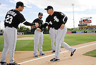 GLENDALE, AZ - FEBRUARY 28:  Avisail Garcia #26 is greeted by manager Robin Ventura #23 of the Chicago White Sox during pre game ceremonies prior to the game against the Los Angeles Dodgers on February 28, 2014 at The Ballpark at Camelback Ranch in Glendale, Arizona. (Photo by Ron Vesely)   Subject: Avisail Garcia; Robin Ventura